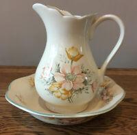 Vintage St.Michaels M&S Bowl & Jug Anemone. Ceramic.Floral. Bathroom/Bedroom