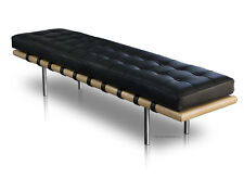 Long Bauhaus leather seating bench. Real leather & solid wood. Length 198 cm.