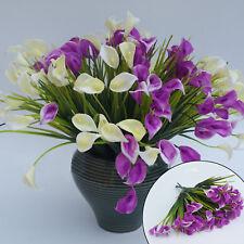 27Heads Artificial Plastic Calla Lily Fake Leaf Flowers Plant Bouquet Home Decor