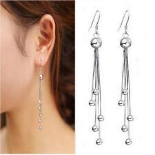 Neu Damen Ohrhänger Lang 5 Bead Silber Ohrringe Ohrstecker Pro CC33