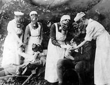 Photo. WW1. German Nurses with Gas Masks working in Trenches