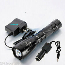 10000LM CREE XM-L T6 LED Rechargeable Flashlight Torch Lamp with Battery Charger