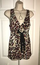 Sexy XOXO Leopard Top With Mesh Tie Sz Lg Pretty NWOT