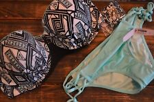 Victoria's Secret  swimsuit Bikini swim 36D Flirt bandeau top S string bottom