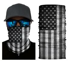 Black US Flag Neck Warmer Gaiter Face Scarf Over Balaclava Headwear Bandana Hats