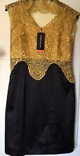 Karen Millen Black And Gold Bodycon Occasion Dress Size 12 - BNWT