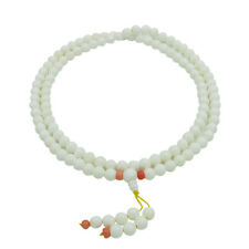8mm White Tridacna Shell Tibet Buddhist 108 Prayer Beads Mala Necklace
