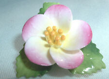 VINTAGE STAFFORDSHIRE CARA CHINA PORCELAIN PINK YELLOW BLOSSOM FLOWER BROOCH PIN