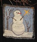 """""""SNOWY DAY SNOWMAN"""" RUG IN A DAY LINEN PATTERN PRIMITIVE RUG HOOKING"""