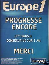 PUBLICITÉ EUROPE 1 PROGRESSE ENCORE 3ème HAUSSE CONSÉCUTIVE SUR 1 AN MERCI