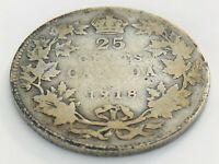 1918 Canada 25 Twenty Five Cent Quarter Circulated Canadian George V Coin J401