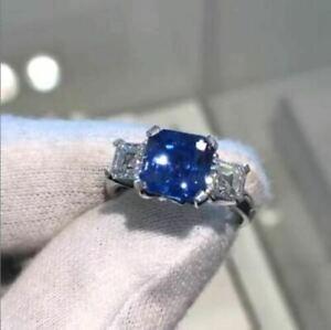 3Ct Asscher Cut Blue Sapphire Three-Stone Engagement Ring 18K White Gold Finish