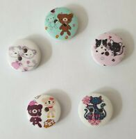 Job Lot of Assorted Cat & Teddy Buttons Size 15mm - Various Quantities Available