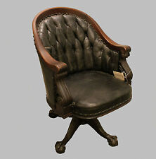 Antique Mahogany Office Chair – claw feet base - Swivel - Upholstered Seat