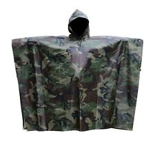 1x  Military Woodland Camo Ripstop Wet Weather RAIN PONCHO Hiking Camping Unisex
