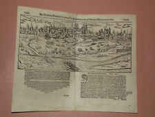 1592 Antique woodcut town view of Speier (Germany). Sebastian Münster
