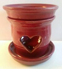 Cranberry Stoneware Wax Warmer with Heart Cut-Outs