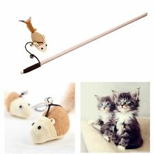Feather Wooden Rod Play Training Elastic Rope Cat Bell Toys Faux Mouse