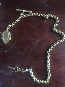 Vintage Plated Pocket Watch Chain With Fob And Key