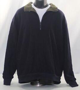 Bob Timberlake 1/4 Zip Pullover Jacket Navy Blue & Green Wool Blend Mens Size XL