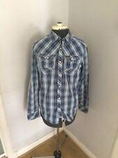 G-Star Raw Mens Casual Shirt MEDIUM Long Sleeve Blue Regular Fit Check Button Up