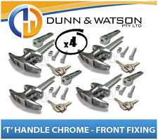 Chrome Plated Front Fixing 'T' Lock / Handle (Trailer Caravan Canopy Toolbox) x4