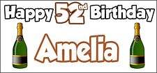 Champagne Bottle 52nd Birthday Banner x 2 Party Decorations Mens Womens Adult