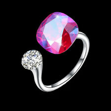 Wholesale 925 Silver Square Adjustable Ring With Purple SWAROVSKI Crystal and CZ