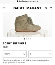 $600 Isabel Marant 37 7 6.5 Bobby Sneakers Taupe Hidden Wedge Womens Fashion GUC