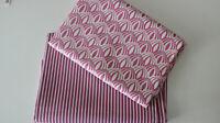 Swafing Baumwollstoff 2 x  50 x  140/150 Retro pink/weiß + Streifen