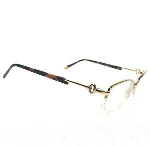 Tiffany & Co TF1050 6002 Sunglasses Glasses Frames Half Rim Gold Keys Tortoise