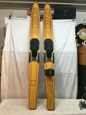"""Vintage Pair 1960'S Voyager Nash Wood Water Skis 67"""" Solid Wood Skis"""