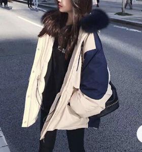 New Women Ladies Winter Cream Warm Puffy Fur Hoddle Quilted Jacket Coat