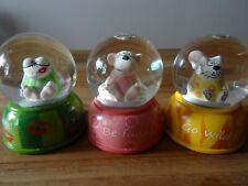 Schneekugel 3 Stück, Goebel Adam & Ziege, kleine Schneekugel mit Glitzer 6,5 cm