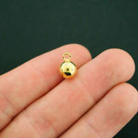 4 Round Ball Charms Gold Tone Copper 3D Sphere - GC296