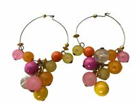 "Vintage Drop Dangle Pierced Colorful Beads Earrings Costume Retro Jewelry 3"""