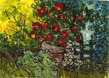 ACEO NFAC JUL Backyard Garden Flowers Impressionistic Art Painting Penny StewArt