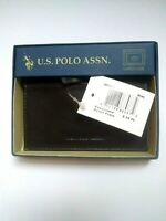 U.S. Polo Assn Men's Genuine Leather Wallet Clear Id Window Card Holder Brown