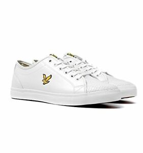 Lyle & Scott Teviot Perforated leather Trainers  White Black Ship Worldwide