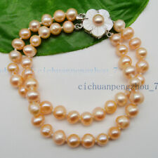 Pearl Bracelet 7.5'' Shell Flower Clasp Aaa 2 Rows 7-8mm Natural Pink Akoya Real