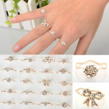 Wholesale Mixed 20pcs Cute Clear Rhinestone Gold Plated Girl's WAVE rings New