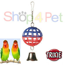 BALL BIRD TOY TRIXIE HANGING LATTICE BALL + BELL FOR CAGE BUDGIE CANAARY PET