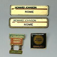Vintage Howard Johnson Motor Lodge Employee Name Pins Service Award Lot of 4