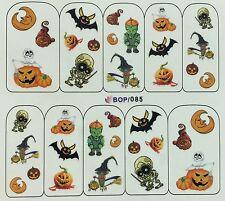 Nail Art Water Decals Halloween Pumpkins Bats Jack-o-lantern Witch BOP085