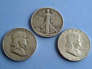 Lot of three -3- half dollars: Liberty & Franklin 1942-52-62, SILVER  90% .