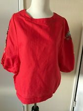 NEW Anthropologie cotton peasant floral embroidered blouse, top, Red, fits 6-8