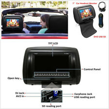 """Noir 7"""" Auto Appui-Tête Monitor Dvd Player Usb avec IR à distance sans fil & Casque"""