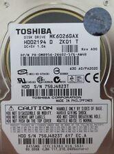 """Toshiba MK6026GAX (HDD2194 D ZK01 T) 630 A0/PA202D 60gb 2.5"""" IDE/ATA Laptop HDD"""