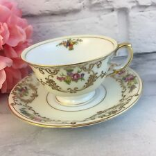 MEITO China Hand Painted Cup Teacup and Saucer Made Japan pink Roses