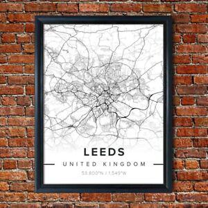 Map of LEEDS Poster Black and White Map Novelty Gift Framed Art City Print